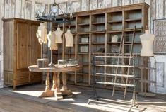 Farm Store, Wood Store, Library Ladder, Retail Store Design, Aging Wood, Wooden Cabinets, Wall Cabinets, Antique Stores, Decoration
