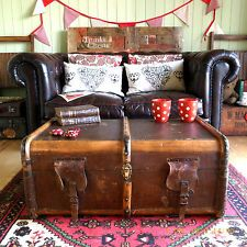 antique victorian trunk coffee table vintage banded steamer trunk