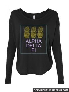 ALL NEW GREEK U Sorority Three Pineapples Flowy Long Sleeve Shirt. Shown in Alpha Delta Pi http://www.greeku.com/sorority/clothing/three-pineapples-flowy-long-sleeve-shirt/