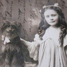 Edwardian girl with pet dog A4 matt print £7.00