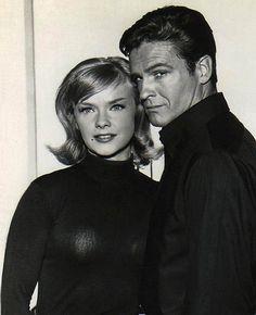 "Anne Francis & John Ericson in ""Honey West"" (1965-1966, ABC).  Memo to Wardrobe:  should've used a black bra."