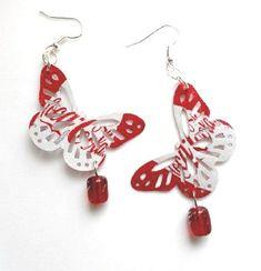 Teen Girl Jewelry Coca Cola Butterfly Earrings by AbsoluteJewelry