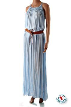 Dlhé bledomodré šaty Pronto s opaskom Nádherné dlhé bledomodré letné šaty  na ramienka s hnedým koženkovým 082ad68799