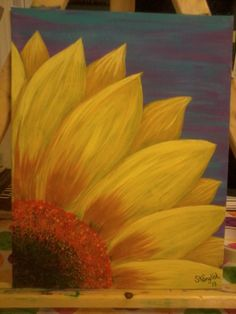 Kitchen canvas art diy canvases acrylic paintings Ideas for 2019 Sunflower Art, Sunflower Paintings, Paintings Of Sunflowers, Sunflower Drawing, Art Sur Toile, Wine And Canvas, Diy Canvas, Acrylic Canvas, Canvas Ideas