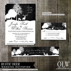 Rustic Deer Wedding Invitation rsvp and belly by OddLotEmporium