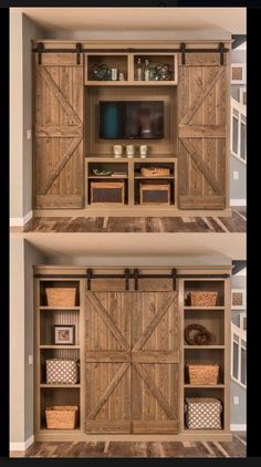 Barn Door Projects that Will Make You Want to Remodel Bookshelves and sliding-door entertainment center. Old style stain techniqueBookshelves and sliding-door entertainment center. Old style stain technique Rustic Decor, Farmhouse Decor, Farmhouse Style, Rustic Wood, Modern Farmhouse, Country Style, Farmhouse Design, Rustic Style, Farmhouse Culture