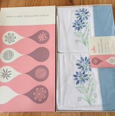VTG NOS Pair of Pillowcases (2) Light Blue Floral Embroidered 42x36 Muslin w Box