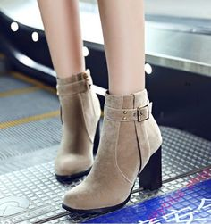 Womens Faux Suede Round Toe Buckle Strap Chunky High Heels Side Zip Ankle Boots