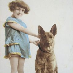 Vintage French photo postcard of a girl and a German Shepherd dog, 1927 Vintage Dog, French Vintage, Nanny Dog, Black And White Dog, Dogs And Kids, Photo Postcards, German Shepherd Dogs, Dog Photos, Vintage Photographs