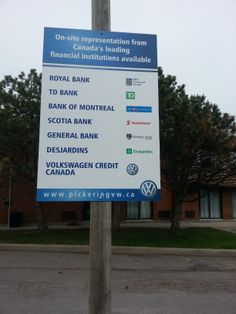 """Outdoor signs 48""""x32"""" digital print applied to Alumacor panels completed June 10/14 for our friends at Pickering Volkswagen....lookin' good!"""