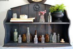 Shelf with old bottles