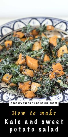 My kale and sweet potato salad is a wonderful vegan lunch or side dish that you'll want to make time and time again. Full of lentils for extra plant based protein. Topped with a delicious creamy tahini dressing. Autumn Recipes Vegetarian, Kale Recipes, Lunch Box Recipes, Vegetarian Dinners, Delicious Vegan Recipes, Vegetarian Salad, Top Recipes, Summer Recipes, Salad With Sweet Potato