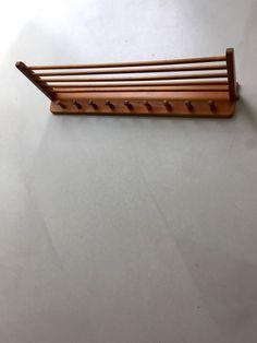 vintage wood library newspaper rack holder dowels. Black Bedroom Furniture Sets. Home Design Ideas