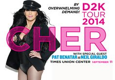 Cher's #D2K Tour will be at the Times Union Center on Sept. 11th! http://www.timesunioncenter-albany.com/