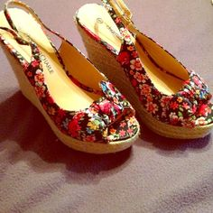 Head Start on Summer Shoes!! Beautiful floral wedges from Charming Charlie's. Only worn twice so still very NEW! Charming Charlie Shoes Wedges