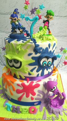 By Helen The Cake Lady Splatoon-Kuchen. Von Helen The Cake Lady # Geburtstag # Kuchen Paintball Birthday, Boy Birthday, Birthday Parties, Birthday Cakes For Women, Let Them Eat Cake, Amazing Cakes, Party Time, Cupcake Cakes, Cake Decorating