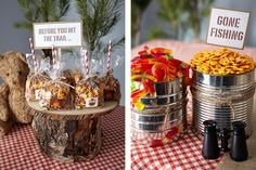 """CampIn-Food- Fill an industrial-sized can with gummy worms and another with crackers, then add a sign announcing the lot has """"Gone Fishing."""""""