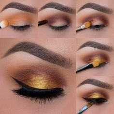 tuto maquillage yeux marrons, eye liner noir, fard à paupière jaune dorée, pinceau maquillage