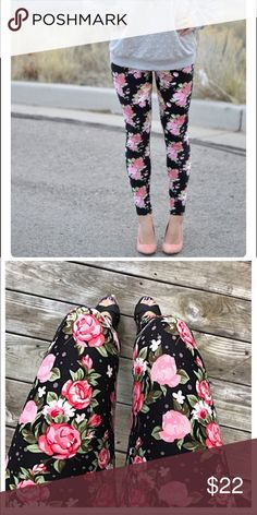 9ed950543745ed Soft Brushed Floral Leggings Adorable floral leggings! Soft brushed  material with beautiful floral pattern.