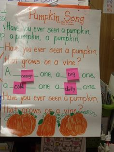 Start on field trip to pumkin farm or explore them in classroom. Write down children's descriptions/adjectives as they explore- next day introduce their adjectives to the poem.