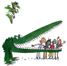 Illustration by Quentin Blake for 'The Enormous Crocodile' by Roald Dahl. I remember this book fondly from my childhood. Claws and teeth of the crocodile are particularly vivid and evocative due to their intense sharpness. Illustration Crocodile, Children's Book Illustration, Book Illustrations, Illustration Styles, Roald Dahl Day, Roald Dahl Books, Roald Dahl Characters, The Enormous Crocodile, Quentin Blake Illustrations