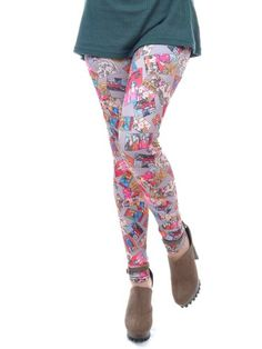 This pair of ankle length leggings features a printed image of cartoon comic strips. These durable tight leggings are #higher waisted to fit you comfortably. Pai...