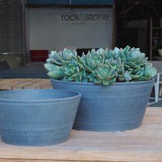 Low Grey Pot from Rock'n'Stone. Pinned to Garden Design - Pots & Planters by Darin Bradbury.