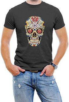 Carnival Skull Graphic Men T-Shirt Soft Cotton Short Sleeve Tee[Black,Large]. 100% cotton Pre-shrunk fabric. Soft, comfortable, and lightweight. Short sleeves. Ring-spun cotton fitted crew-neck. Taped neck and shoulder seams for durability.