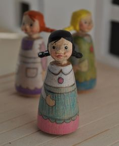 Wooden Peg Doll with Braids  Hand-carved by by Fairiemoon on Etsy