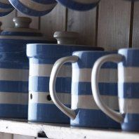 Blue and white ceramics on my kitchen shelf.    (Eventually - not own pic!)