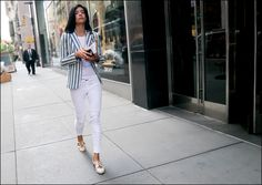 SS7-15 20w skinny white pants striped white blue blazer over see thru lace white shirt cut out flats | by The Urban Vogue