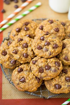Pumpkin-Oat Chocolate Chip Cookies - Cooking Classy Cant wait to try these! Oat Chocolate Chip Cookies, Pumpkin Cookie Recipe, Pumpkin Chocolate Chip Cookies, Pumpkin Dessert, Pumpkin Recipes, Oat Cookies, Ginger Cookies, Fall Recipes, Sugar Cookies