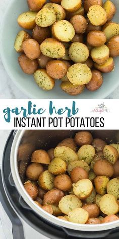 These Garlic Herb Instant Pot Potatoes are so creamy inside, so easy to make and loaded with flavor! Just a couple minutes prep is all this delicious side dish requires! Garlic Herb Instant Pot Potatoes - The Best Instant Pot Recipe, Instant Pot Dinner Recipes, Side Dish Recipes, Recipes Dinner, Instant Pot Meals, Instant Pot Veggies, Instant Pot Potato Recipe, Dessert Recipes, Drink Recipes