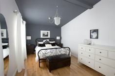 Dark Grey feature wall and ceiling teamed with white walls - I LOVE IT