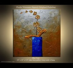 ORIGINAL Abstract Palette Knife textured floral Oil by Nizamas, $248.00