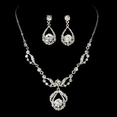 Bridal necklace and earring set CZ Bridal jewelry set Silver Crystal necklace Crystal earrings Art Deco Wedding jewelry CZ drop earrings - Wedding jewelry SET, Rhinestone necklace and earrings, Bridal jewelry set, Crystal necklace, Crysta - Silver Bridal Jewellery, Prom Jewelry, Bridesmaid Jewelry Sets, Wedding Jewelry Sets, Gold Jewelry, Silver Bracelets, Wedding Shoes, Wedding Necklaces, Dream Wedding