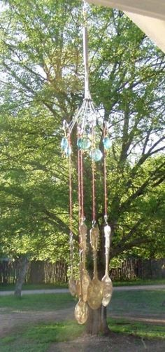 This is a guide about silverware wind chimes. Recycling your own or vintage silverware by making a unique wind chime.