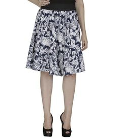 Shopingfever Blue & White Crepe Floral Skirt Online | Buy Shopingfever Skirt India.