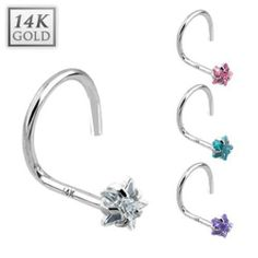 {Clear} 14 Karat Solid White Gold Prong Star CZ Nose Stud Ring - 20 GA - Clear West Coast Jewelry. $31.95