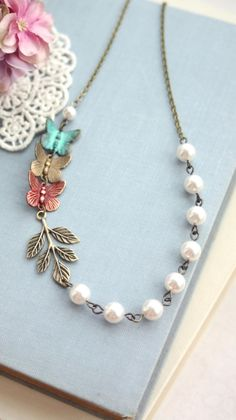Flying Butterflies Necklace,Teal Blue Green, Red, Brass Butterfly, Ivory Pearls Necklace. Bridesmaids Gift Garden Wedding. Butterfly Wedding by Marolsha.