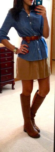 chambray button-up + brown leather waist belt + brown skirt + brown boots
