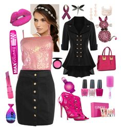 """""""Pink"""" by stylishbysamantha on Polyvore featuring LULUS, JustFab, Dasein, Glitter Pink, OPI, MAC Cosmetics, Britney Spears, Clinique, Forever 21 and Bubbly Bows"""