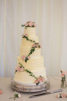Homemade Elegant Buttercream Wedding Cake - Lucy Davenport Photography   English Country Garden Marquee Wedding   Essense Wedding Dress   Pink Multiway Bridesmaid Dresses