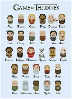 Game of Thrones alphabet sampler - TV series - Mini People - Cross Stitch Patterns - Products