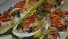 Plnená cuketa Zucchini, Tacos, Meat, Chicken, Vegetables, Ethnic Recipes, Vegetable Recipes, Veggies, Cubs