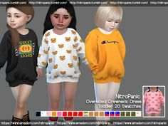 Promoted oversized crewneck dress toddlers the sims 4 Toddler Cc Sims 4, Sims 4 Toddler Clothes, Sims 4 Mods Clothes, Sims 4 Cc Kids Clothing, Toddler Suits, Toddler Poses, Children Clothing, Toddler Girls, The Sims 4 Pc