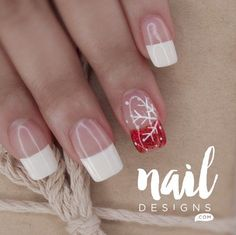 Holiday nail art designs are not only limited to the usual Santa Claus drawing or the like. You'll truly love trying out these pretty and chic designs! Cute Nail Art Designs, French Nail Designs, New Nail Designs, Nail Art Diy, Easy Nail Art, Diy Nails, Gel Manicures, Snowflake Nails, Snowflakes