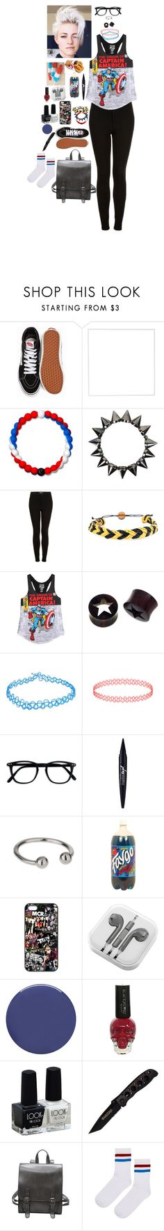 """HAPPY FOURTH OF JULY"" by mimikyu ❤ liked on Polyvore featuring Disney, Vans, Menu, Lokai, Jagged Culture, Topshop, Domo Beads, Marvel, NOVICA and Maybelline"