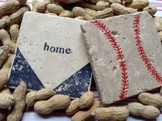 BASEBALL Natural Stone Coaster Set 4 Beer by DandWstonecrafts, $18.00