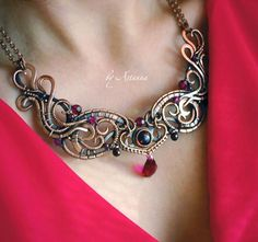 """Mixed metal oxidized wire wrapped stones, garnet, copper statement necklace М Е Д Ь"""" 2015 - 2016   56 photos   VK"""